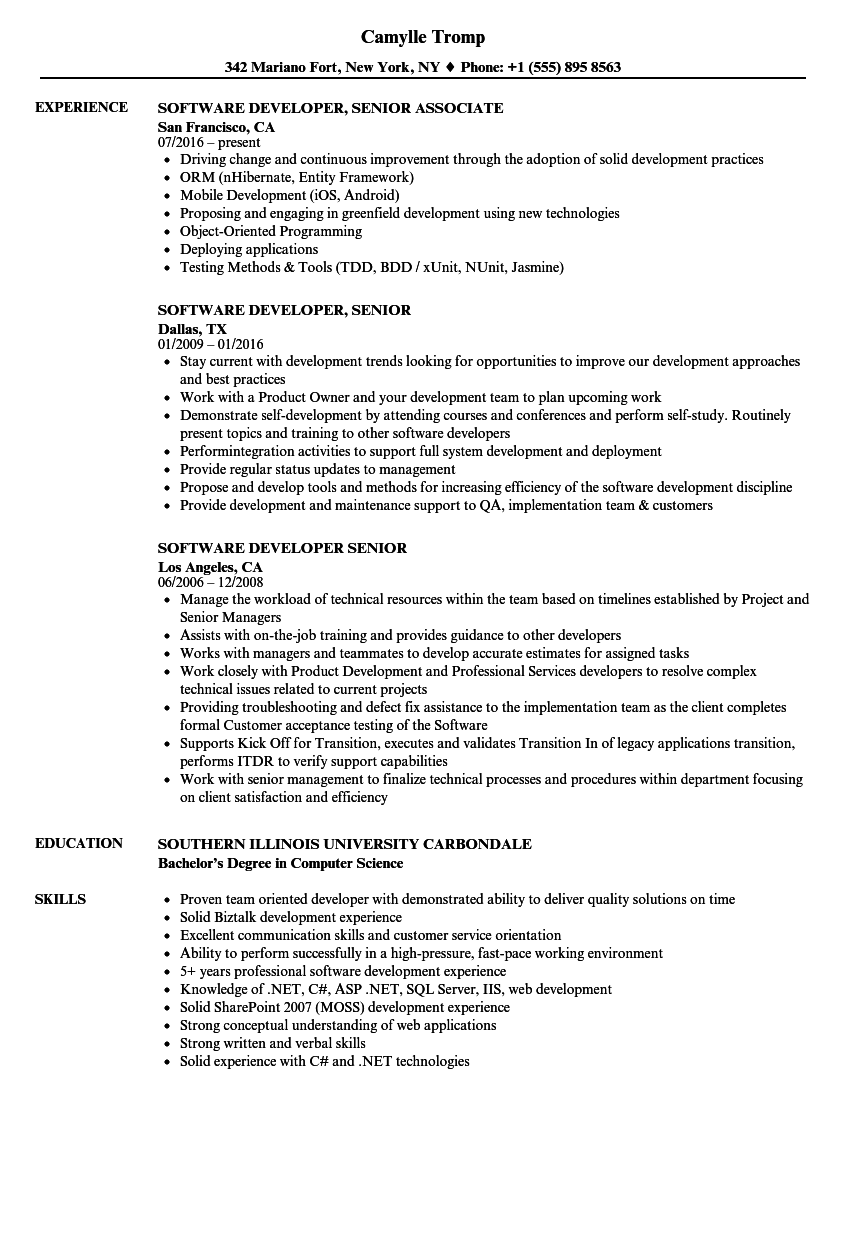 Software Developer Senior Resume Samples | Velvet Jobs