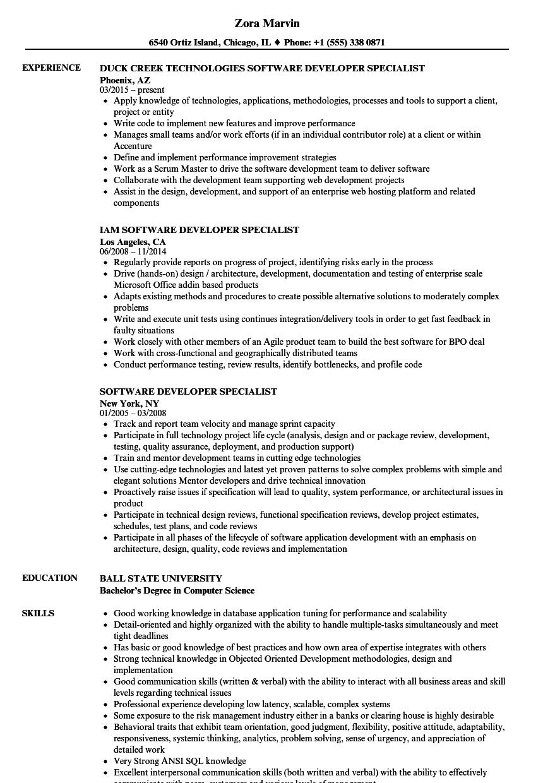 software developer specialist resume samples