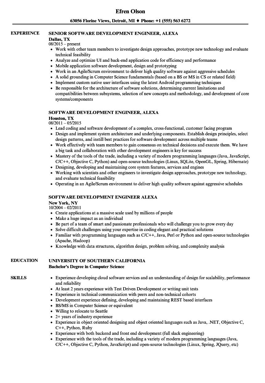 software development engineer alexa resume samples