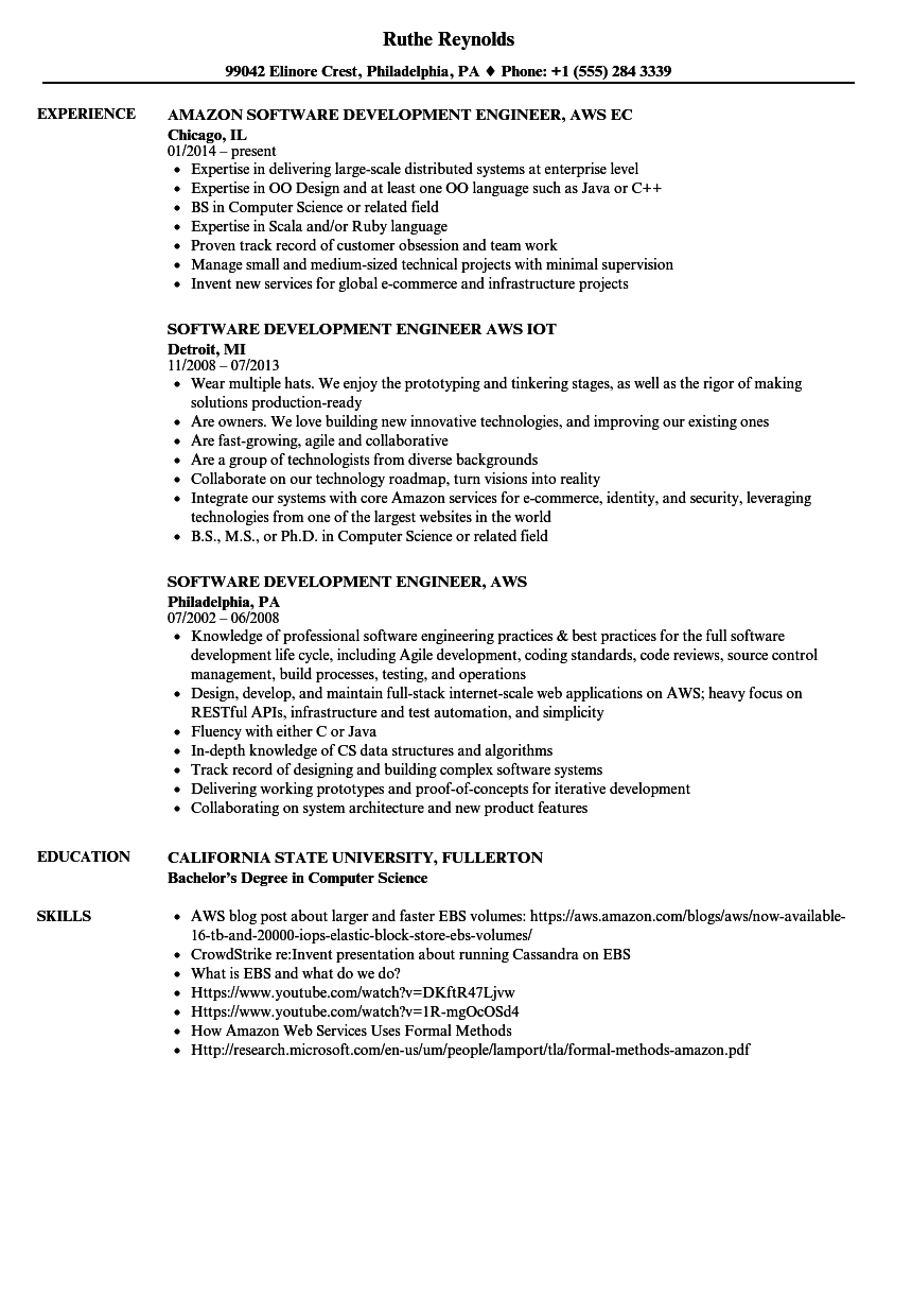 software development engineer  aws resume samples