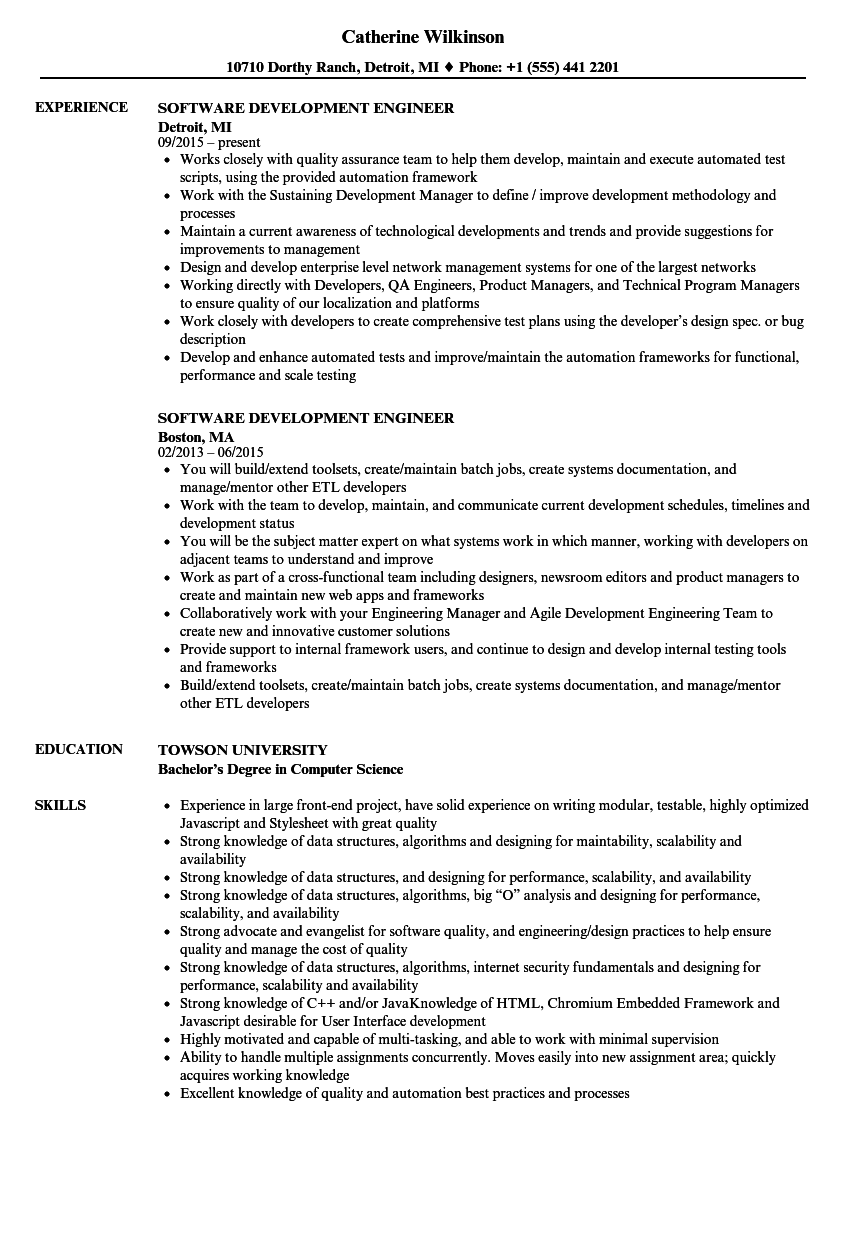 Software Development Engineer Resume Samples | Velvet Jobs