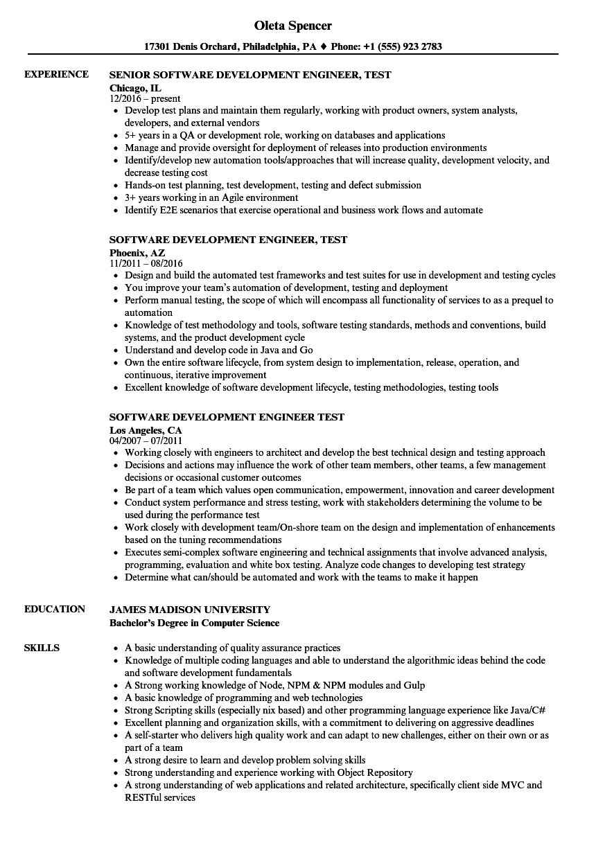 software development engineer test resume samples
