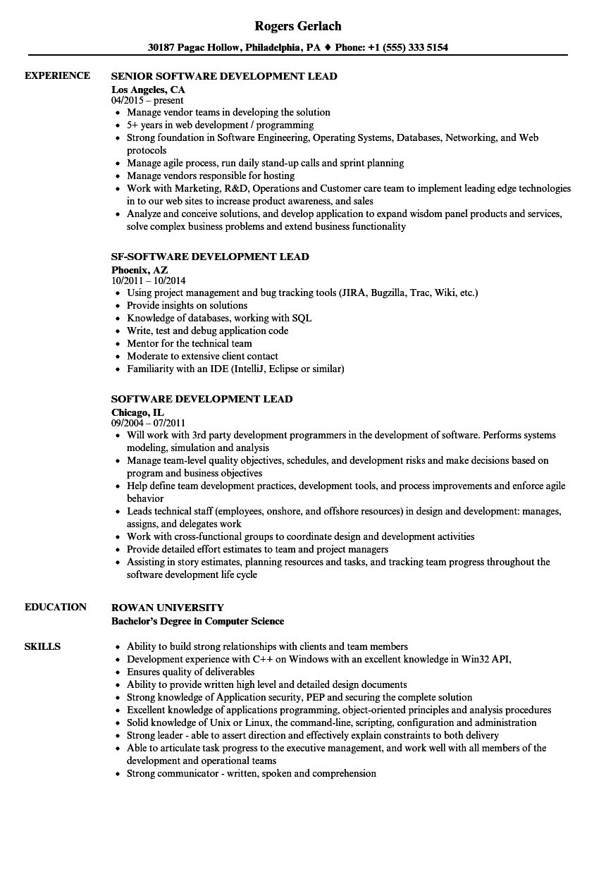 software team lead resumes