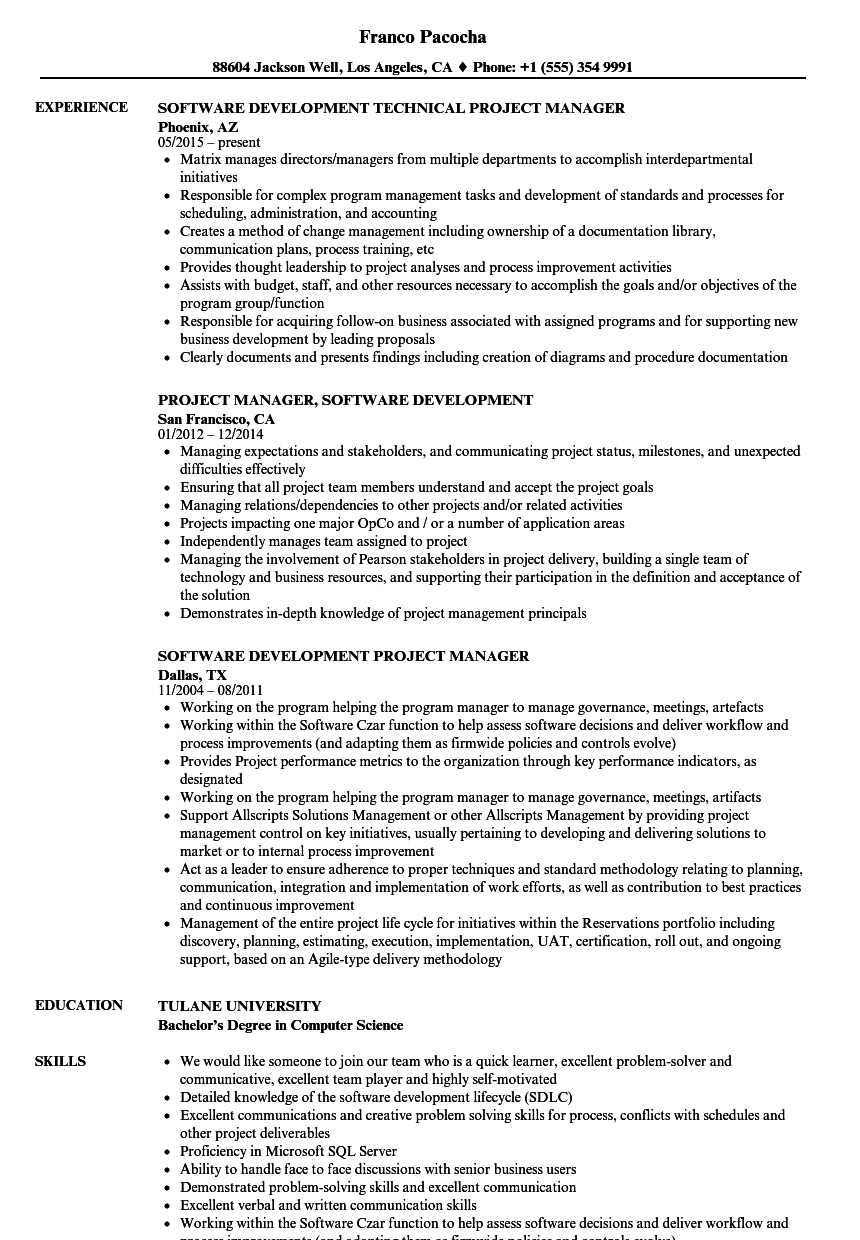 software development project manager resume samples