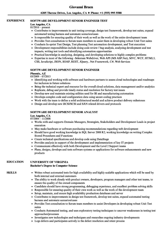 Software Development Senior Resume Samples | Velvet Jobs