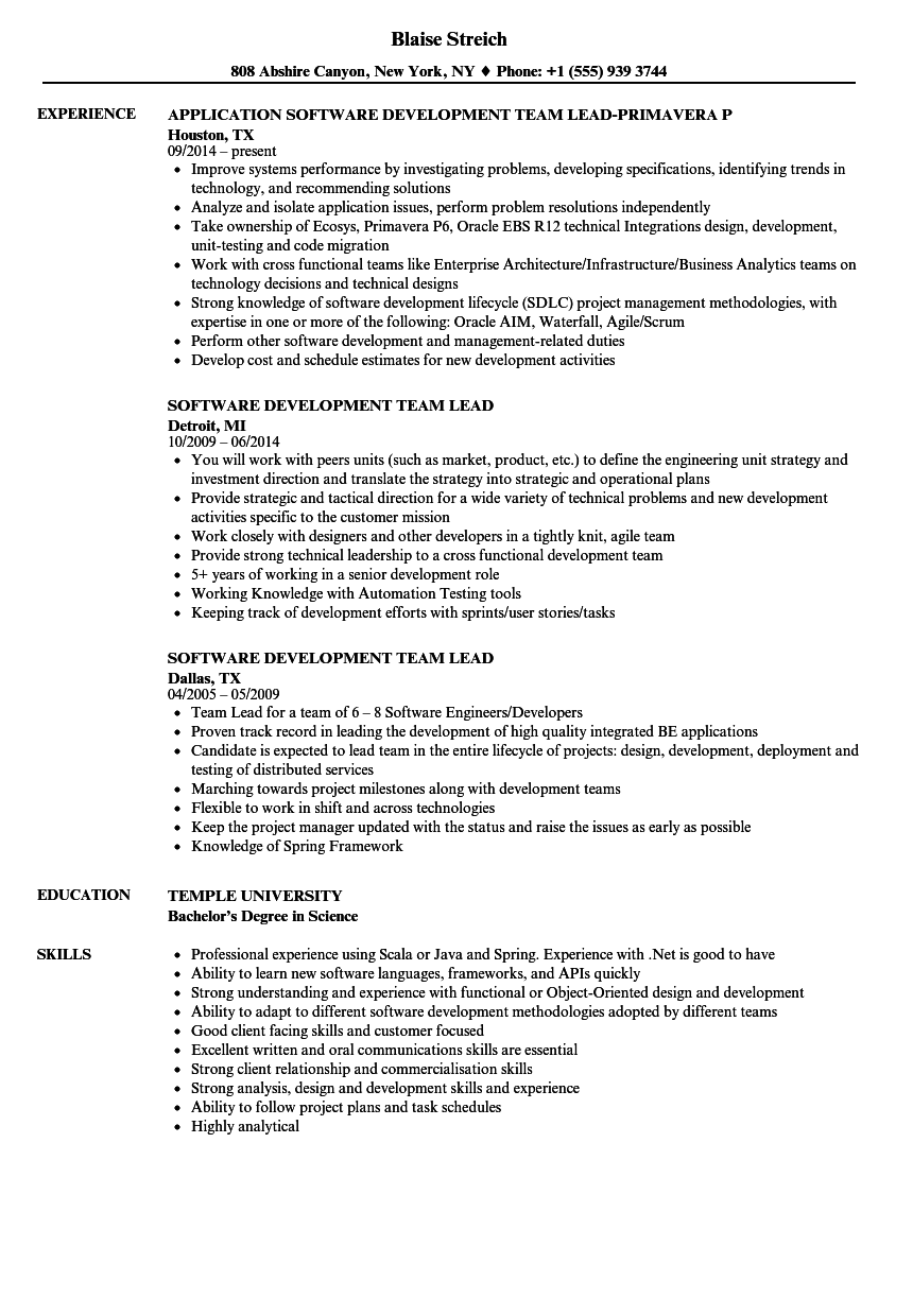software team lead resumes - Gecce.tackletarts.co