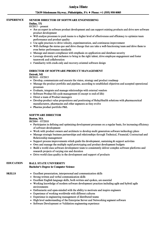 software director resume samples velvet jobs