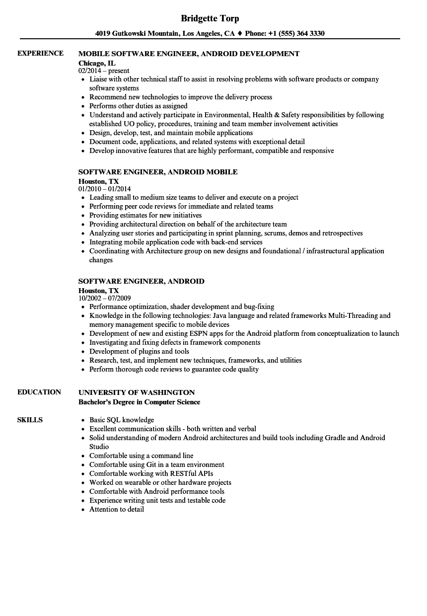 Software Engineer, Android Resume Samples | Velvet Jobs