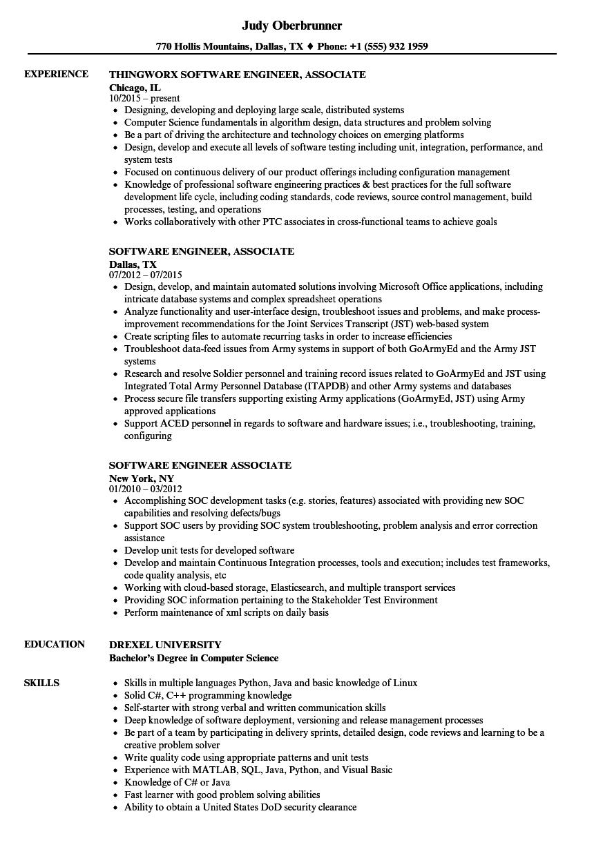 software engineer associate resume samples  velvet jobs