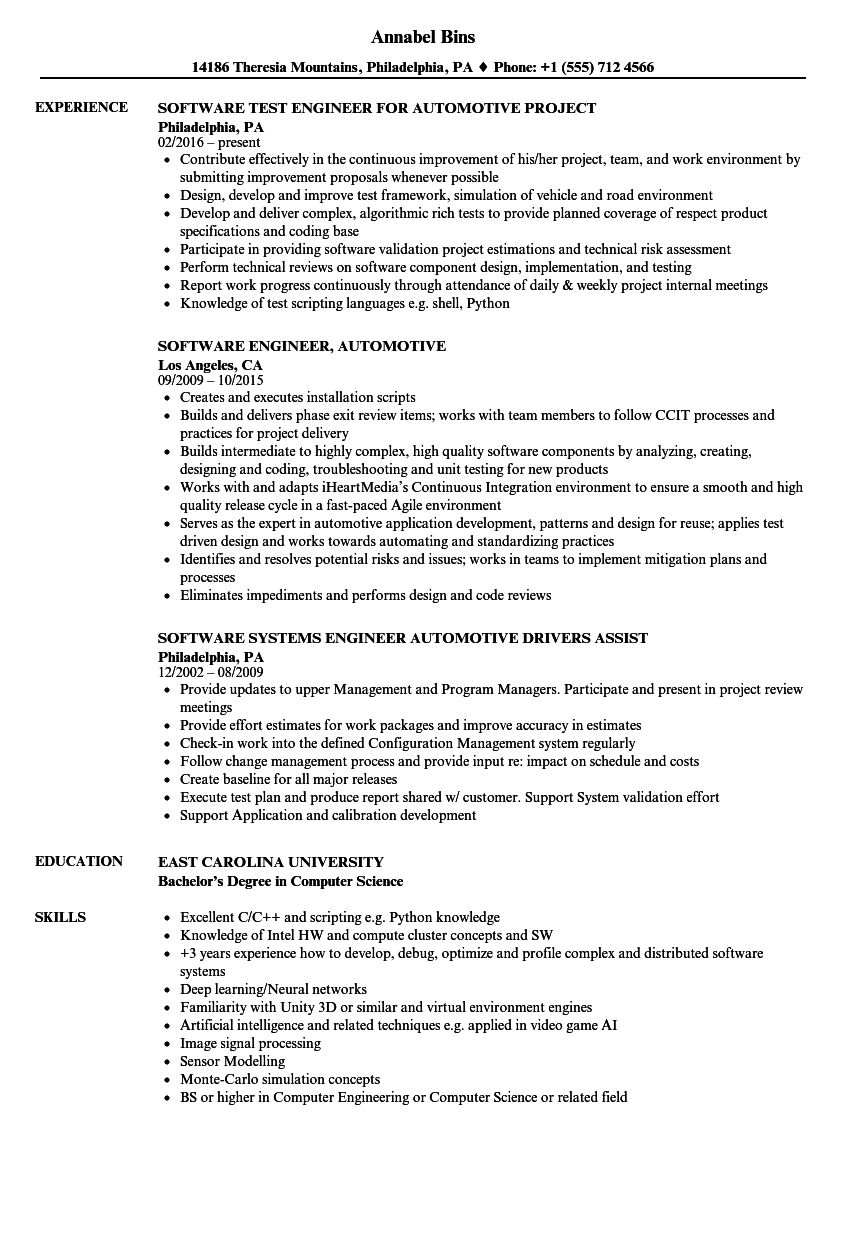 Software Engineer, Automotive Resume Samples | Velvet Jobs