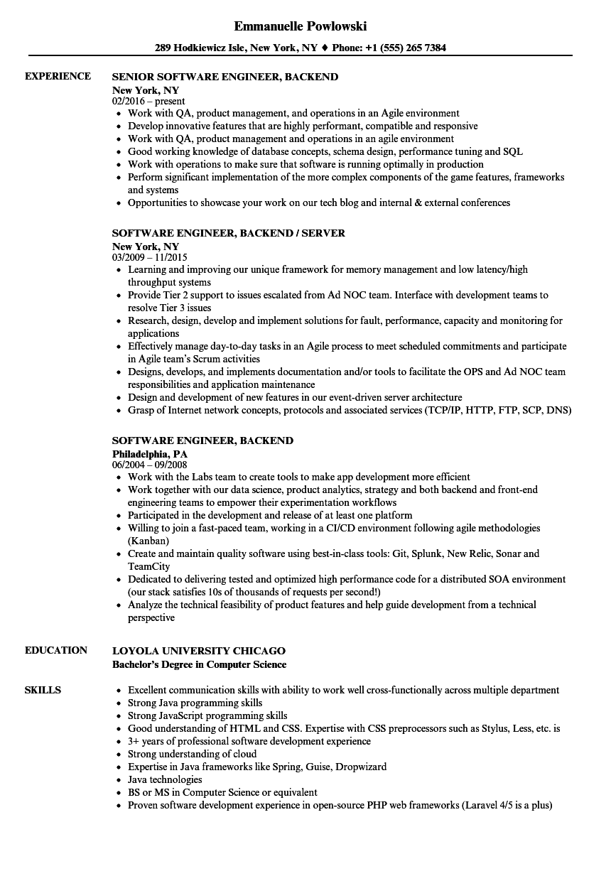 software engineer  backend resume samples