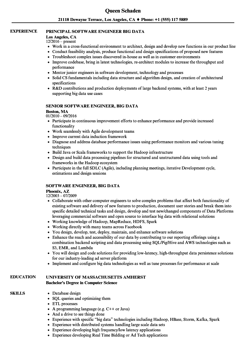 Software Engineer Big Data Resume Samples Velvet Jobs