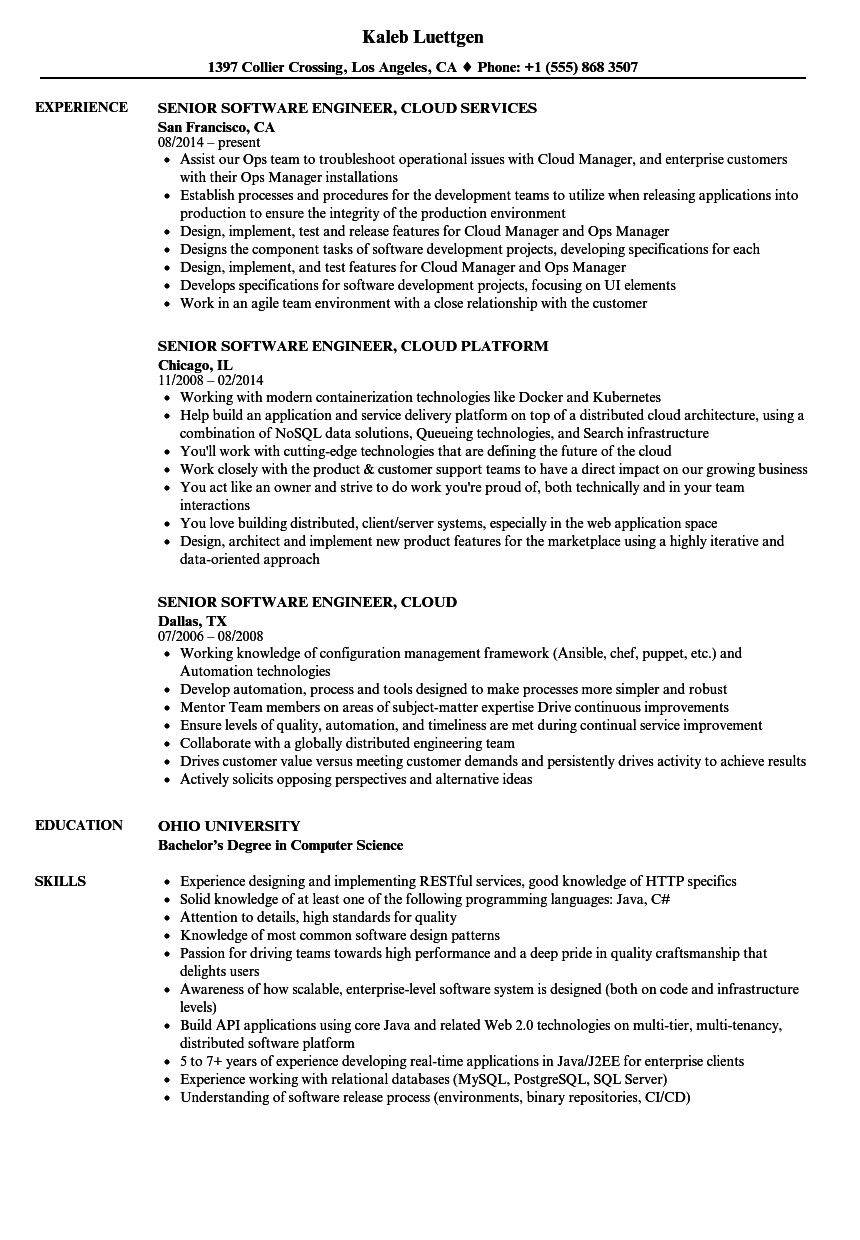 software engineer cloud resume samples