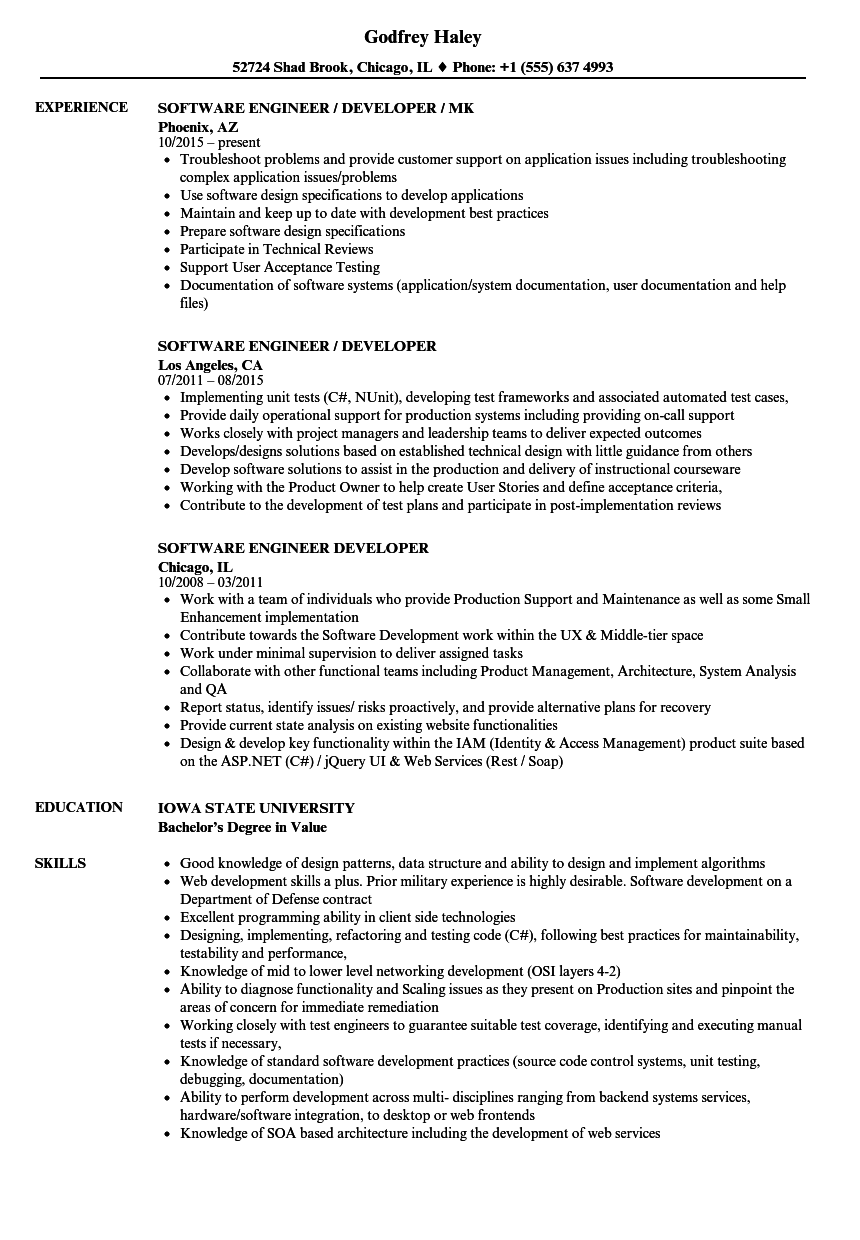 Download Software Engineer / Developer Resume Sample As Image File  Resume Software Engineer