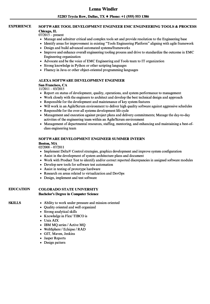 Software Engineer Development Resume Samples | Velvet Jobs