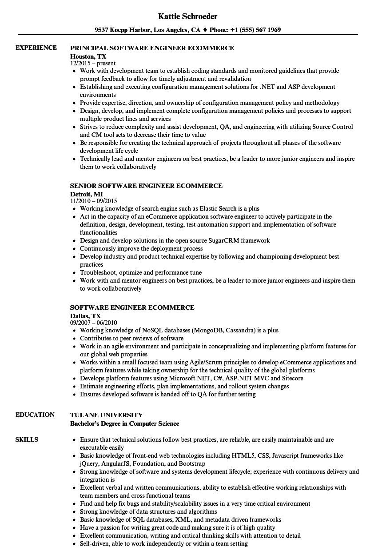 software engineer ecommerce resume samples