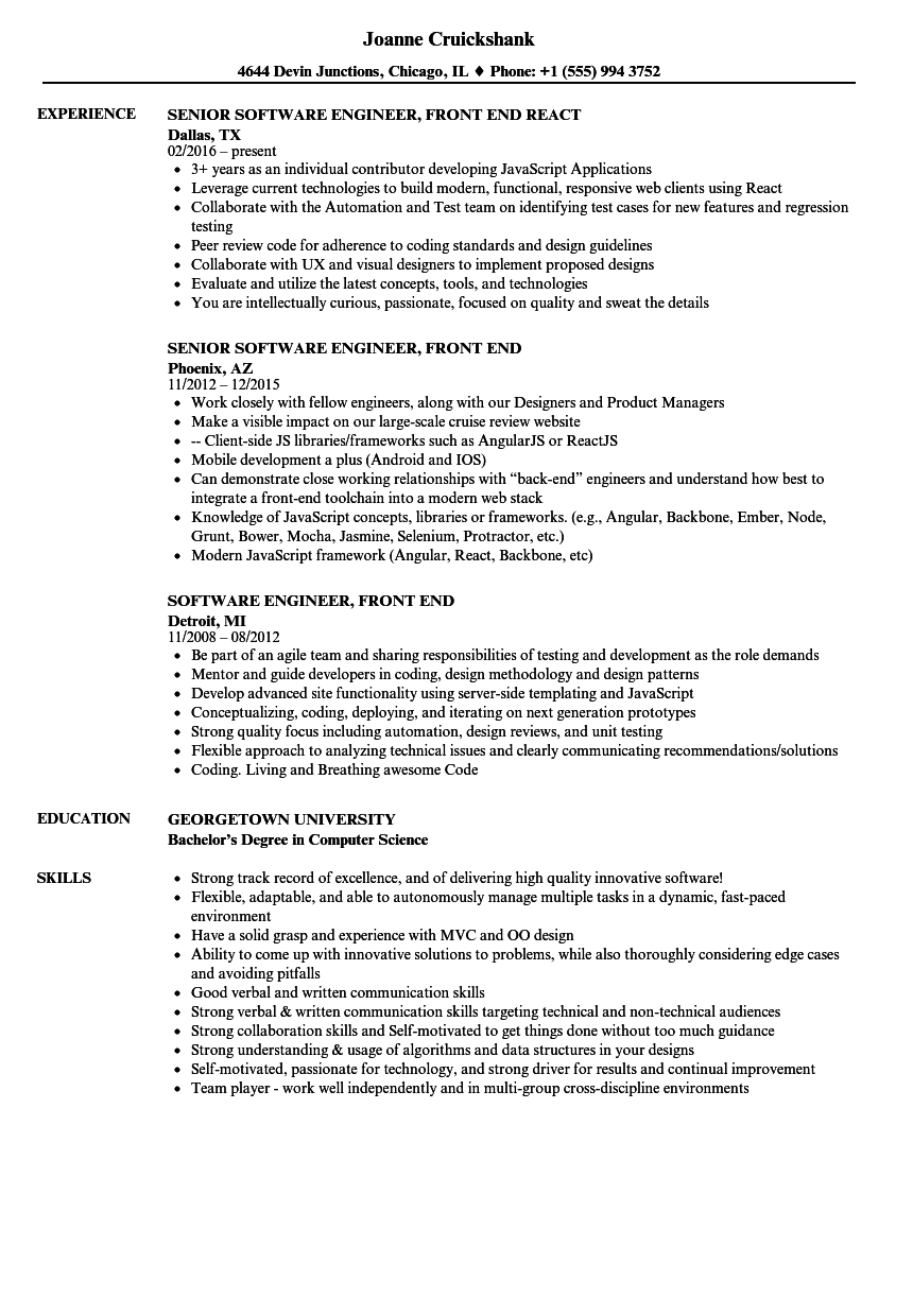 software engineer  front end resume samples