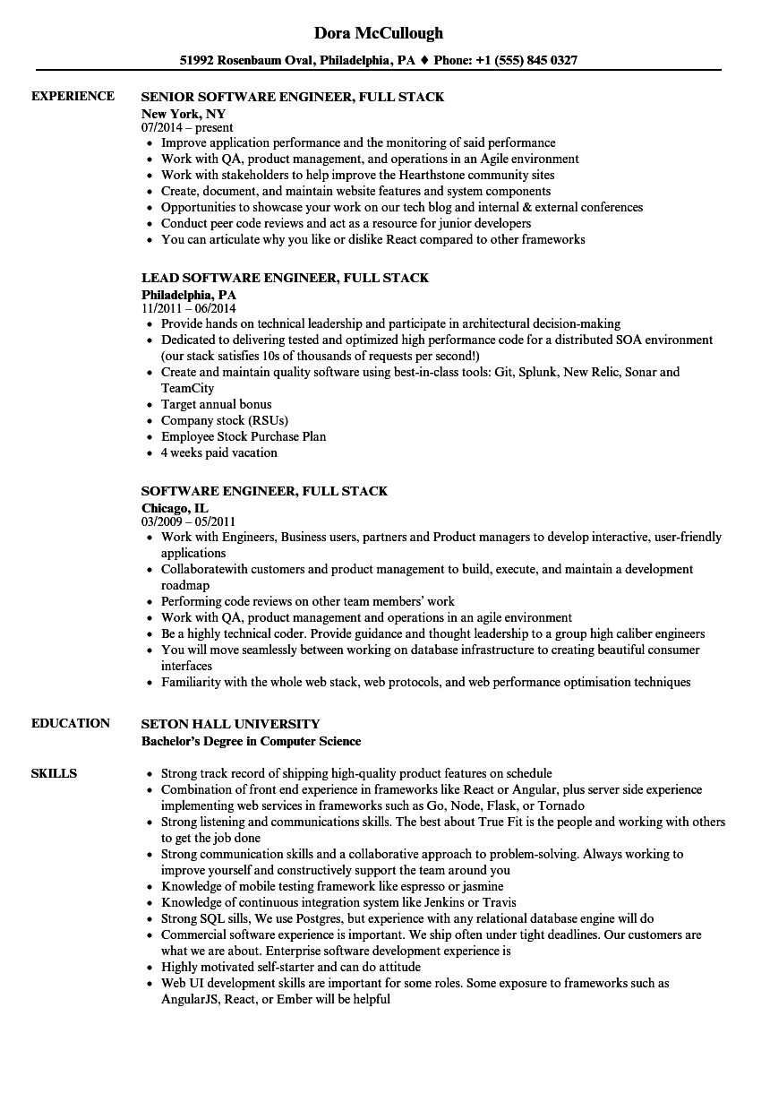 software engineer  full stack resume samples