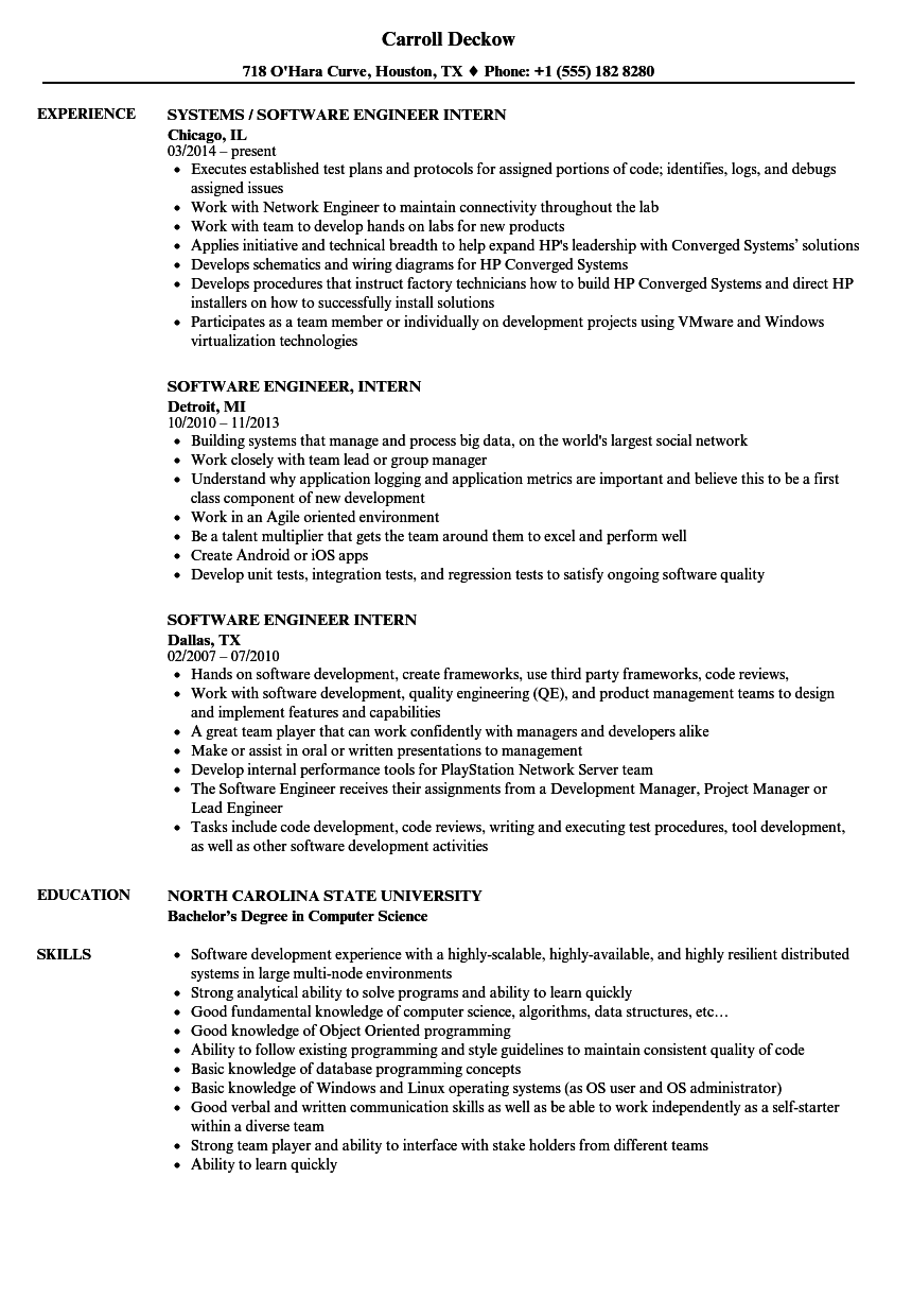 Software Engineer Intern Resume Samples Velvet Jobs