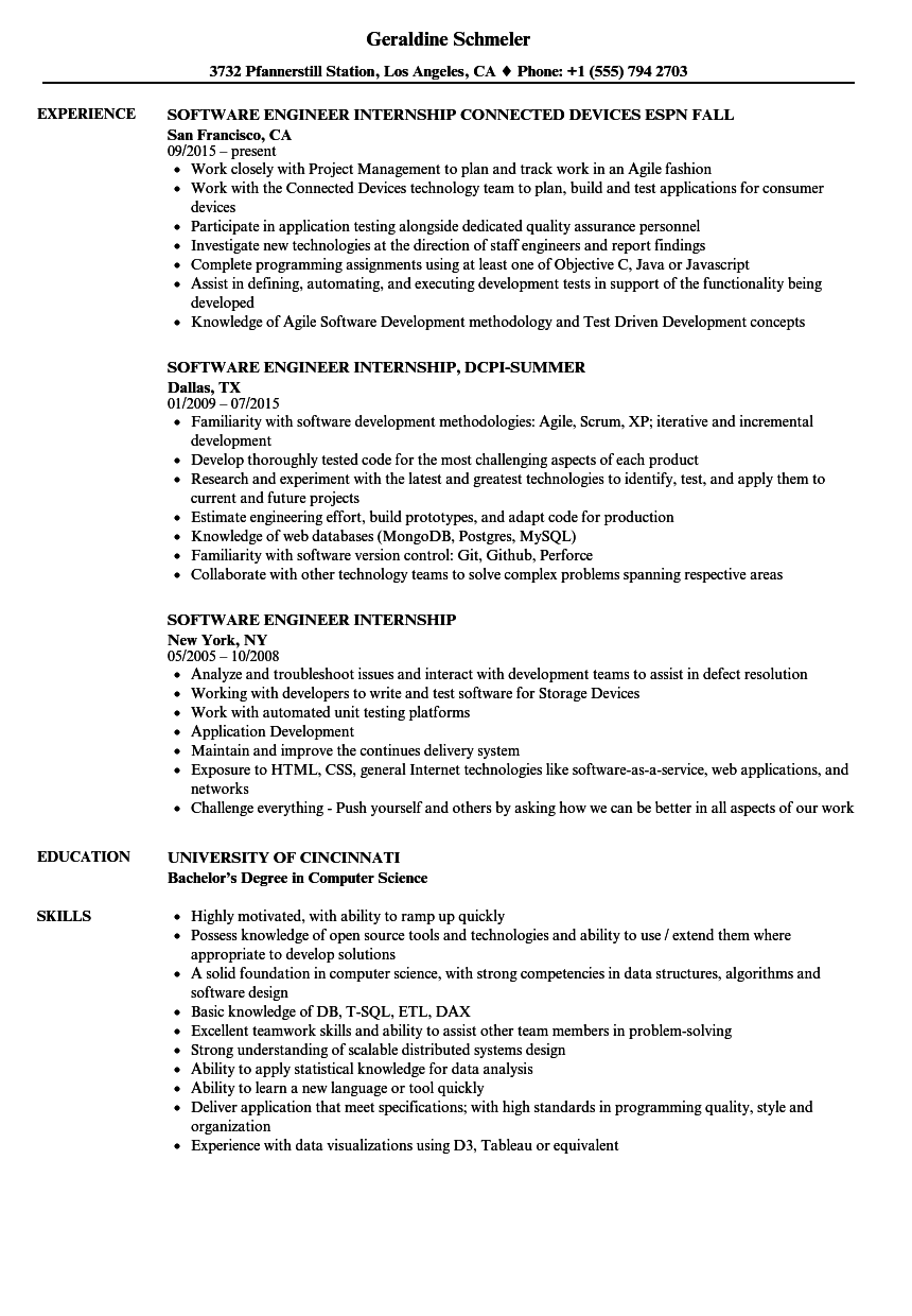 software engineer internship resume samples