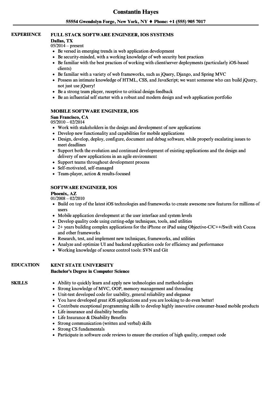 Software Engineer, iOS Resume Samples | Velvet Jobs