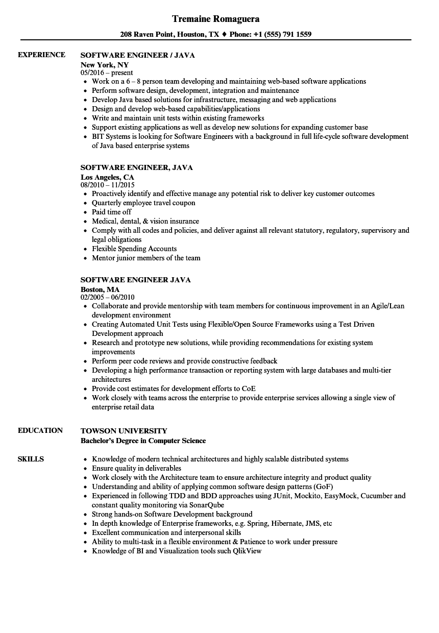 software engineer java resume sles velvet jobs