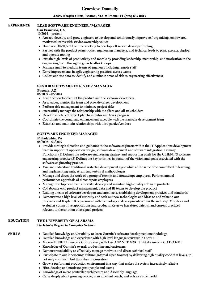 Software Engineer Manager Resume Samples Velvet Jobs