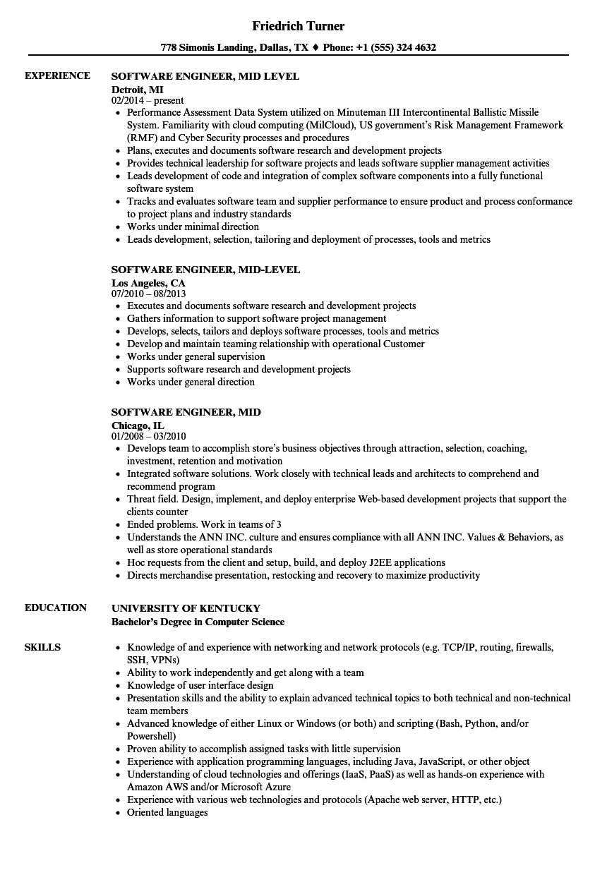 Download Software Engineer Mid Resume Sample As Image File