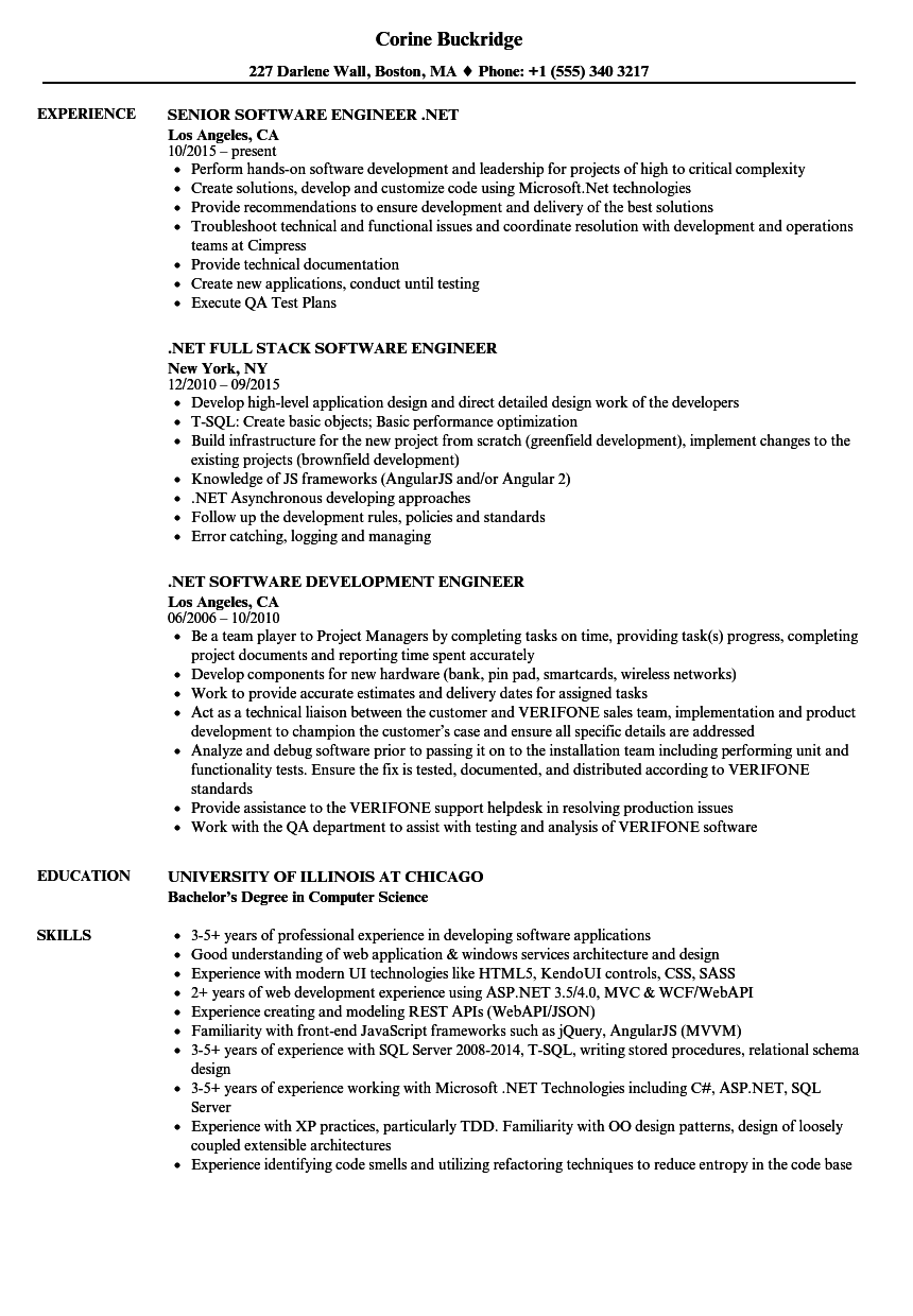 Software Engineer Net Resume Samples Velvet Jobs