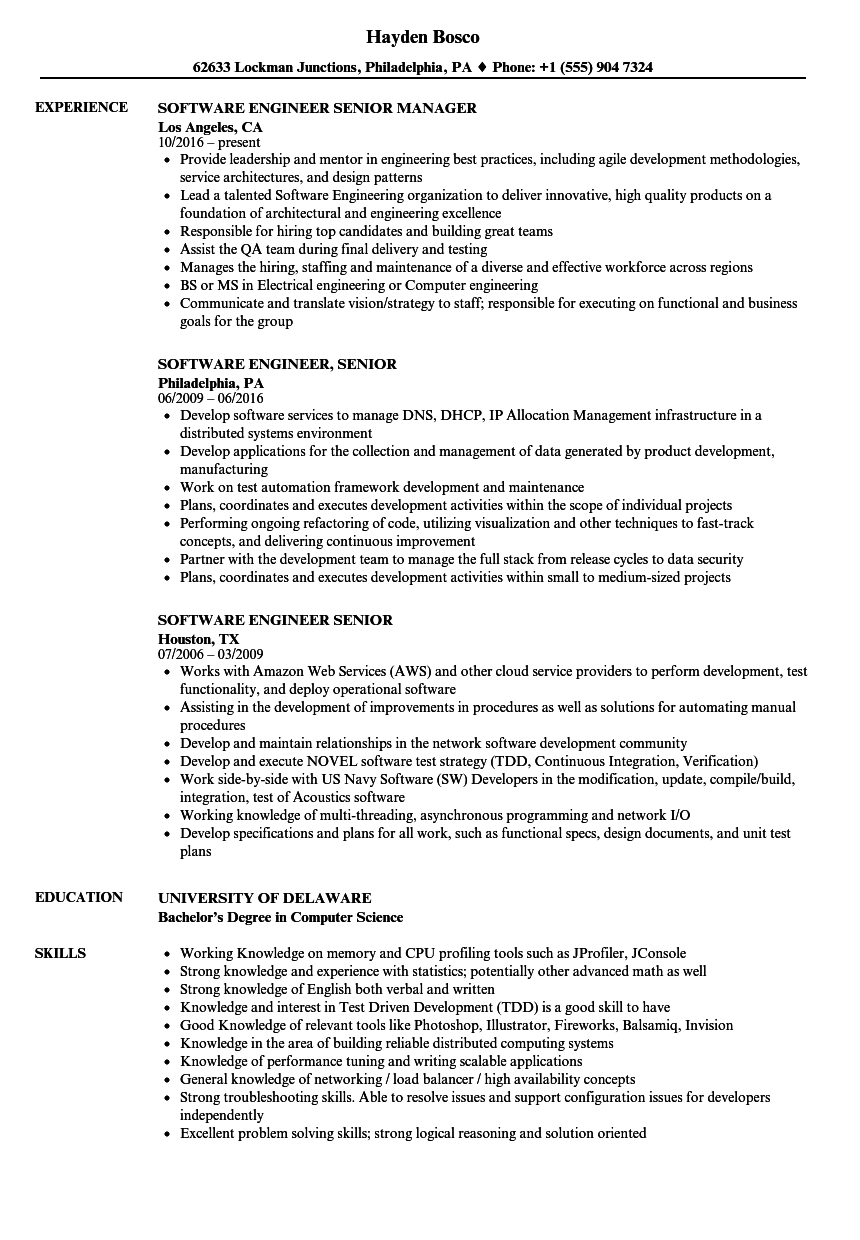 software engineer  senior resume samples