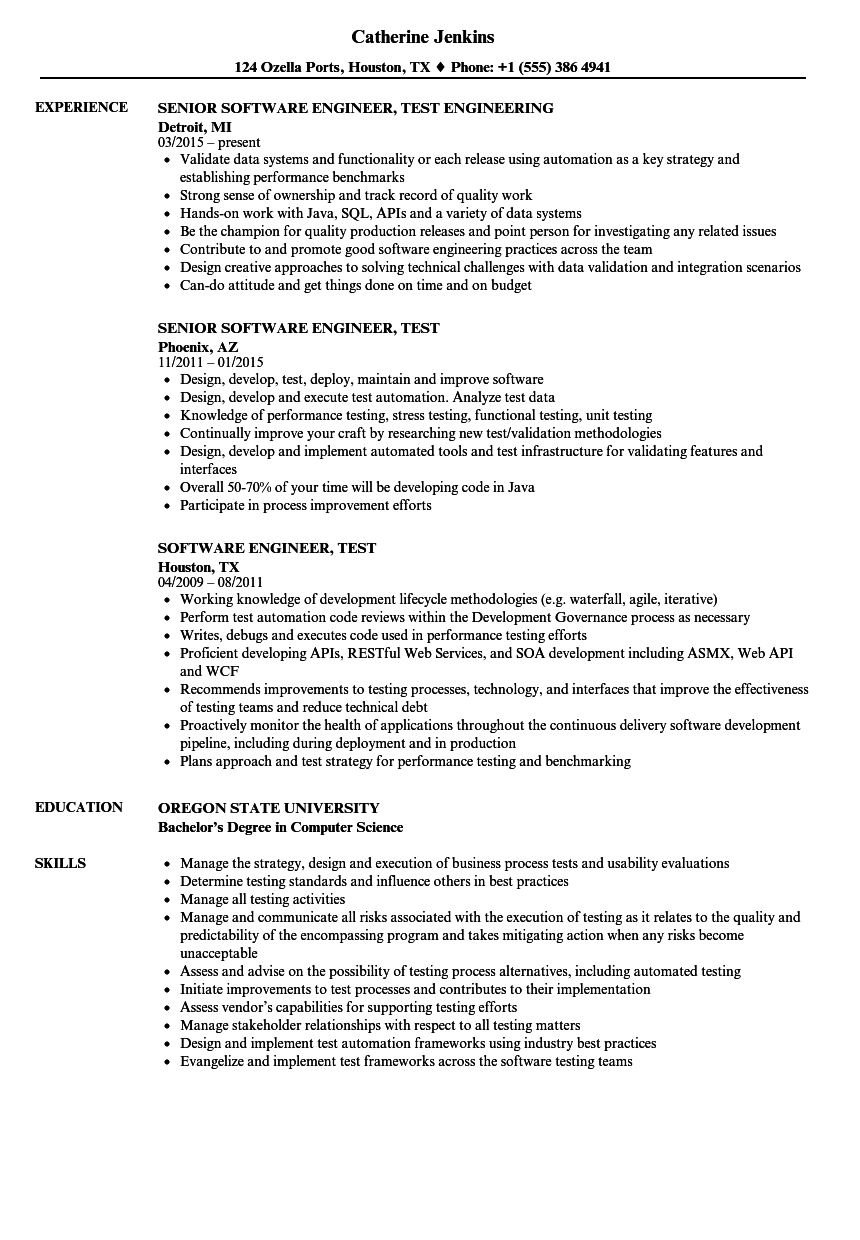 Download Software Engineer, Test Resume Sample As Image File  Software Engineering Resume