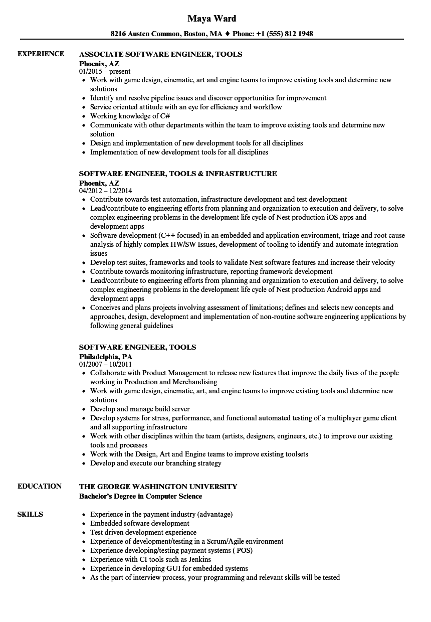 Software Engineer, Tools Resume Samples | Velvet Jobs