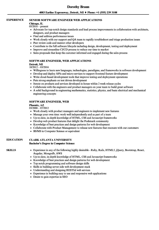 software engineer  web resume samples