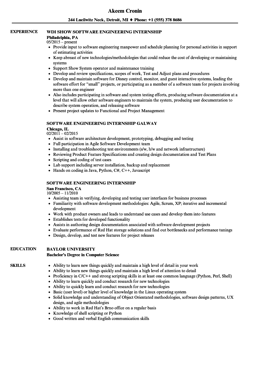 Software engineering internship resume samples velvet jobs for Sample resume for software test engineer with experience