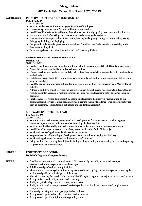 software engineering lead resume samples  velvet jobs