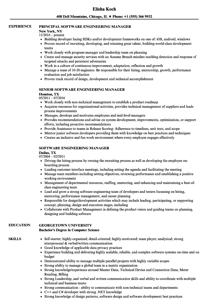 Software Engineering Manager Resume Samples | Velvet Jobs