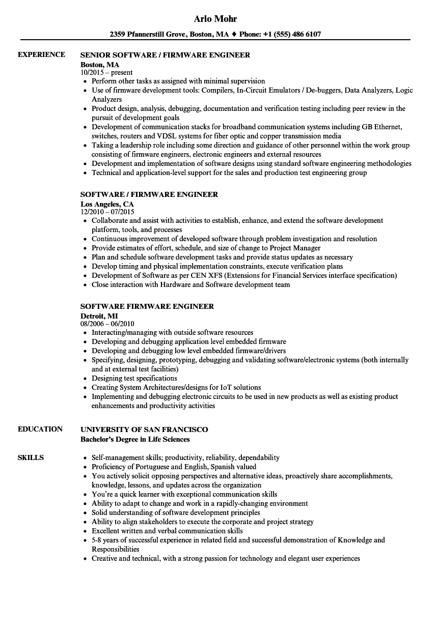 Firmware Engineer Resume - nmdnconference.com - Example Resume And ...