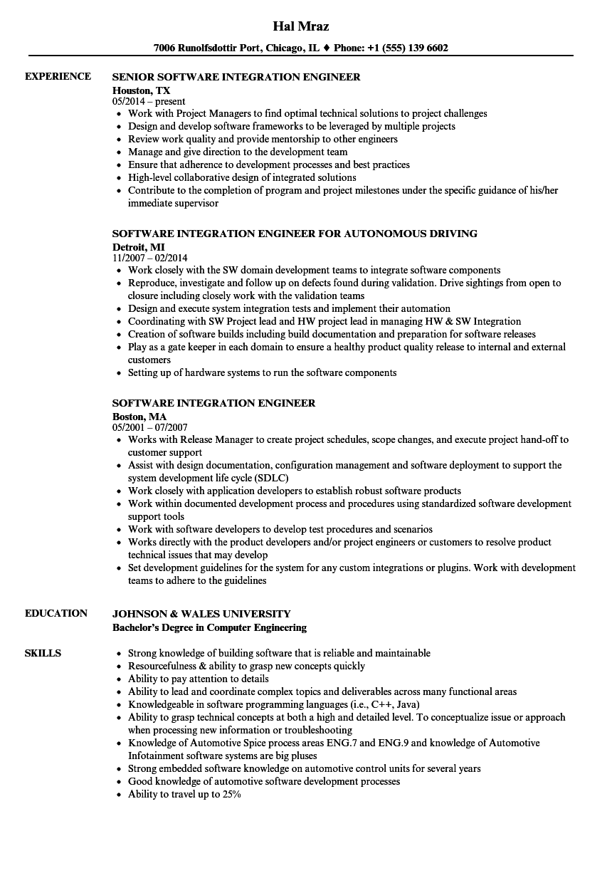 software integration engineer resume samples