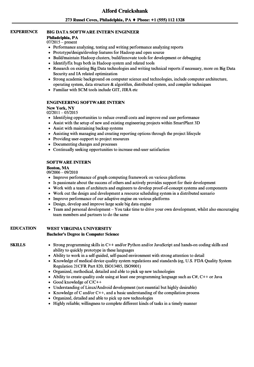download software intern resume sample as image file - Resume Computer Science 2015