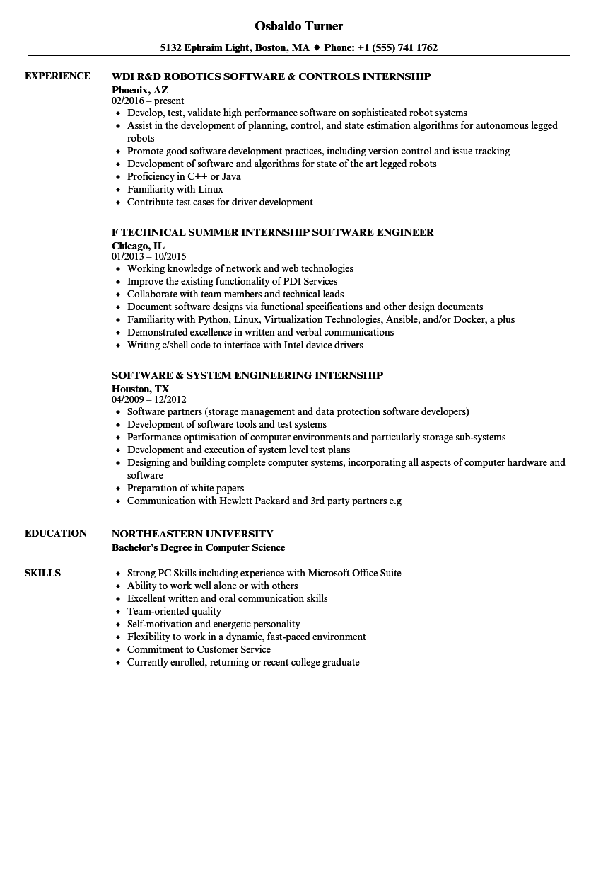 software internship resume samples velvet jobs
