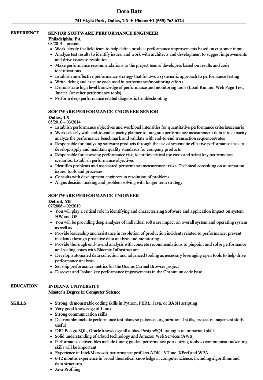 software performance engineer resume samples