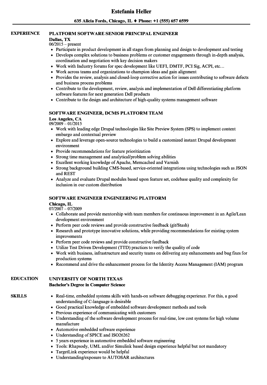 Download Software Platform Engineer Resume Sample As Image File  Resume For Engineering