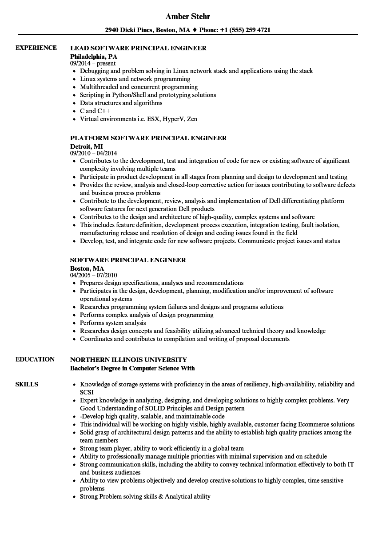 software principal engineer resume samples