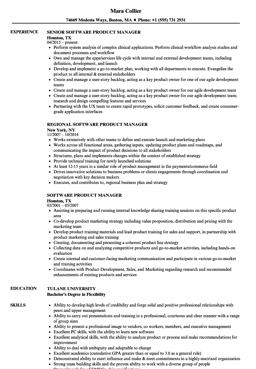 Download Software Product Manager Resume Sample As Image File