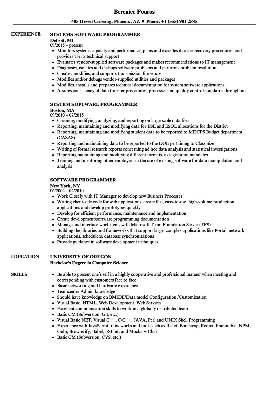 software programmer resume samples