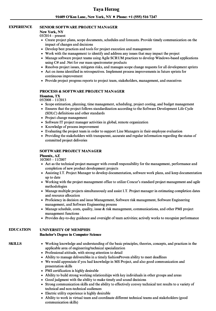 Software Project Manager Resume Samples Velvet Jobs