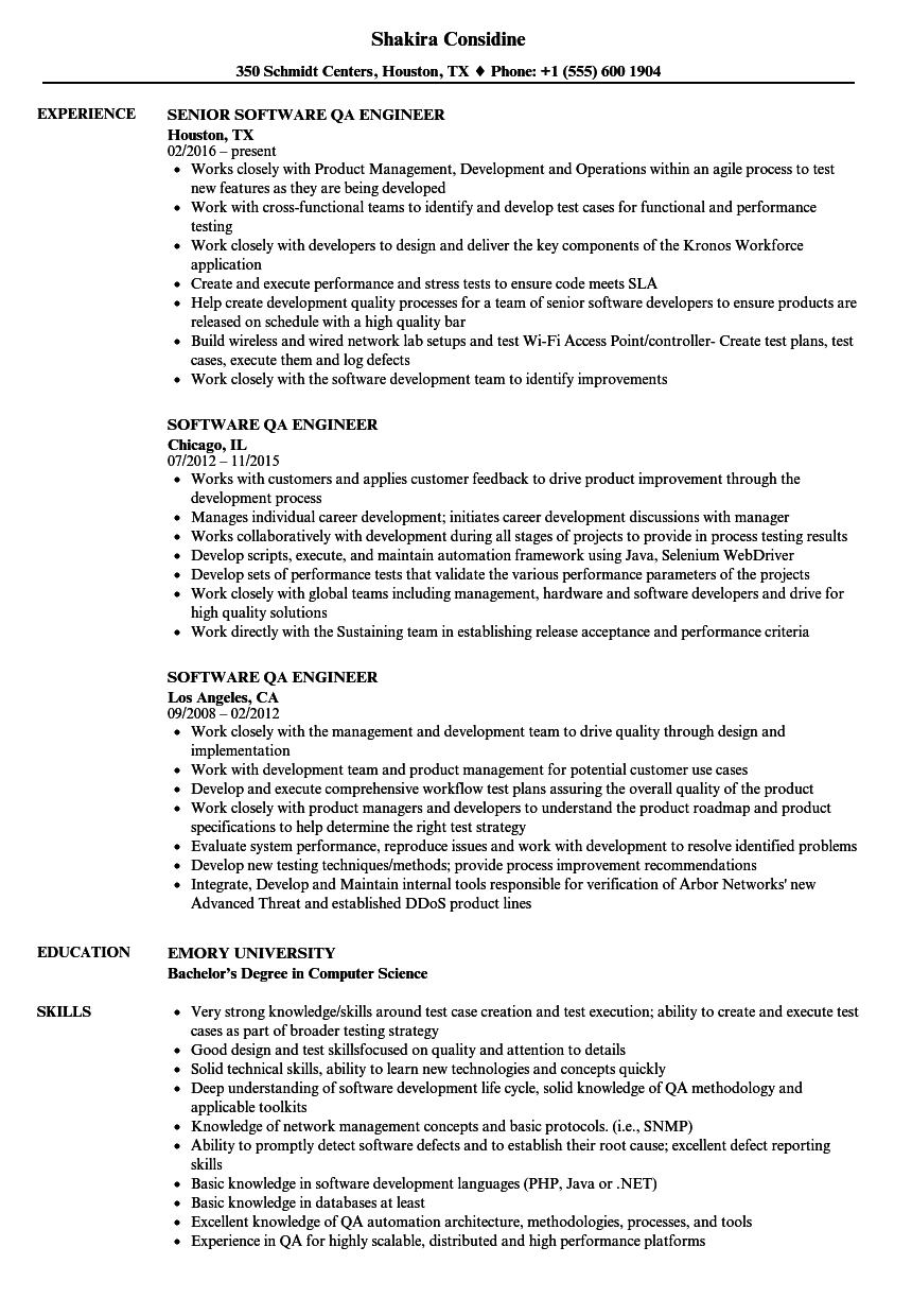 software qa engineer resume samples velvet jobs