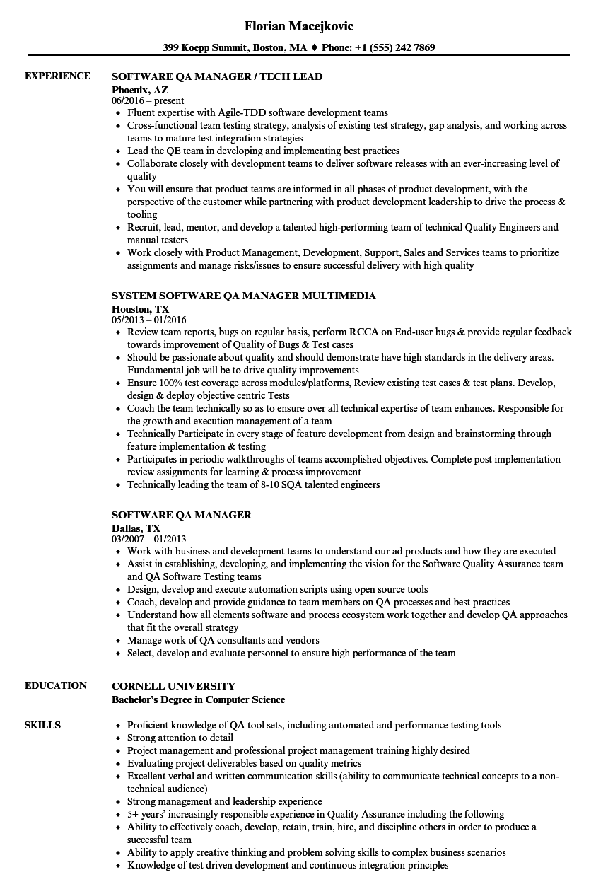 Software QA Manager Resume Samples | Velvet Jobs