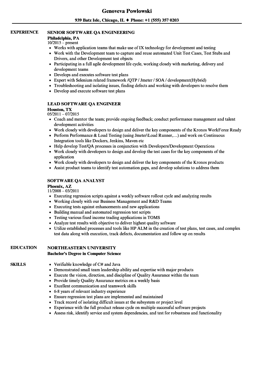 Software Qa Resume Samples Velvet Jobs