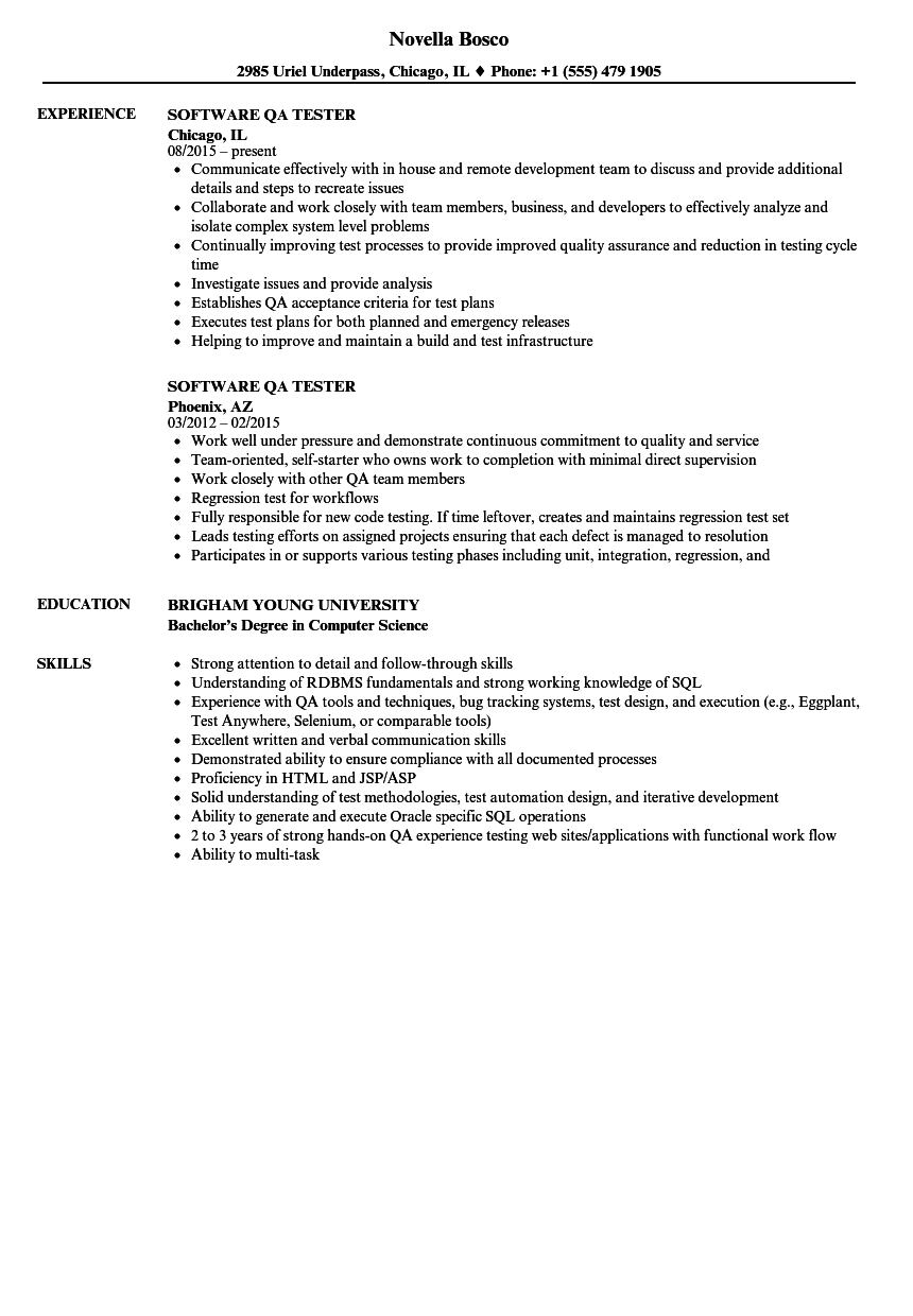 Software QA Tester Resume Samples Velvet Jobs